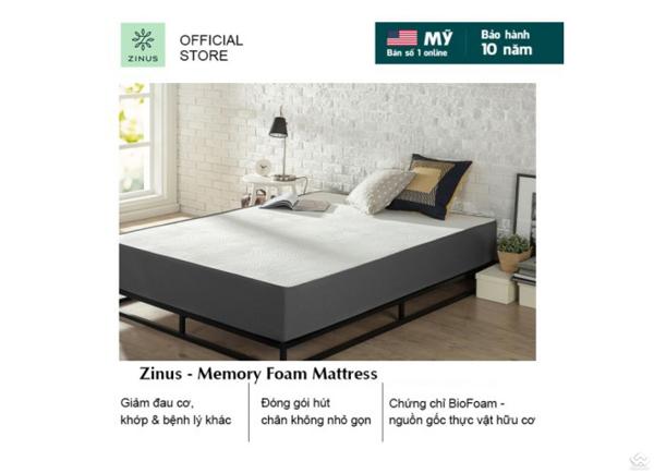 Đệm Zinus Memory Foam Hữu Cơ cao 25cm
